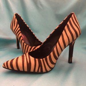 BCBGeneration Fur Zebra Stilettos Pointed Heels